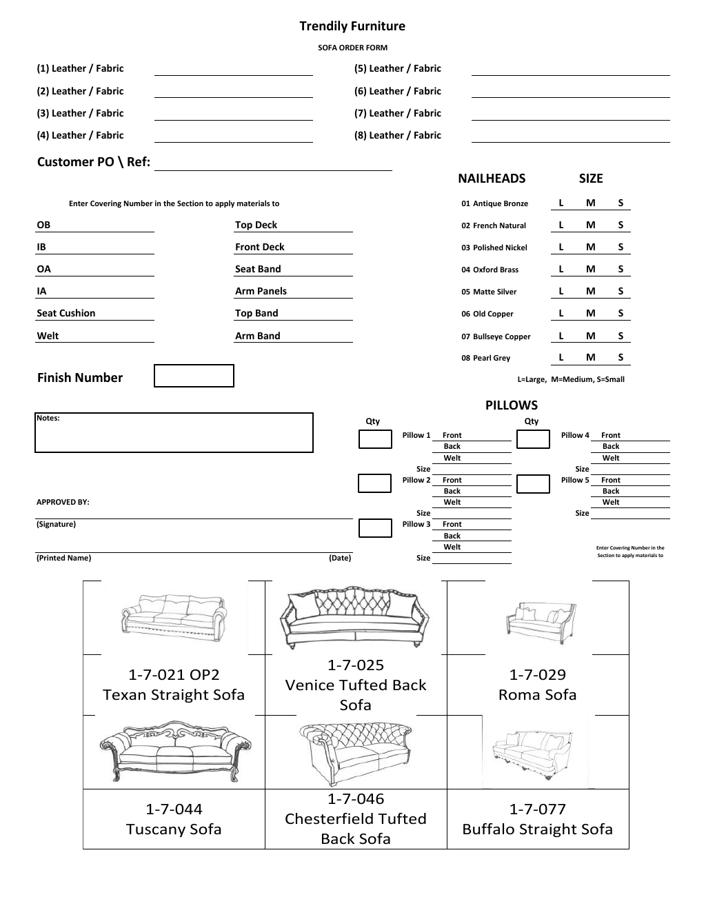 Order Forms | Trendily Home Collection
