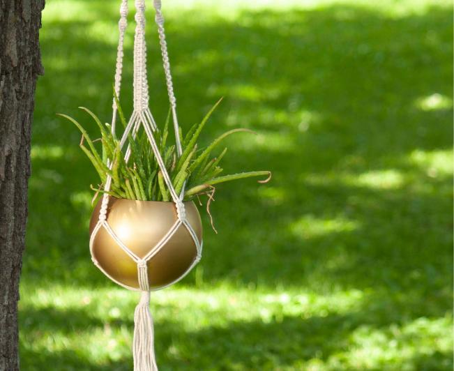 gold metal hanging planter