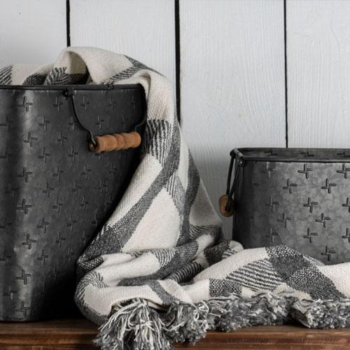 black galvanized bins wholesale home decor