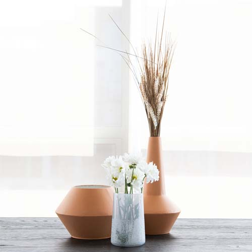 blue handblown glass vase