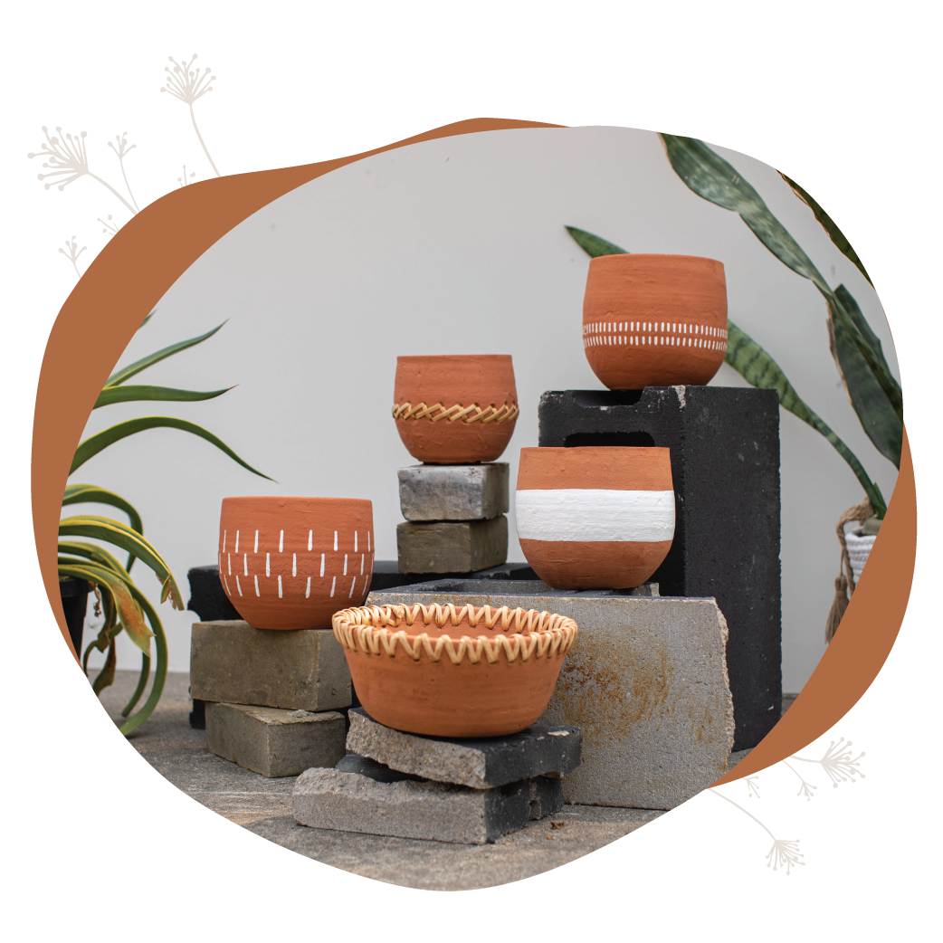 terracotta pots made from natural materials