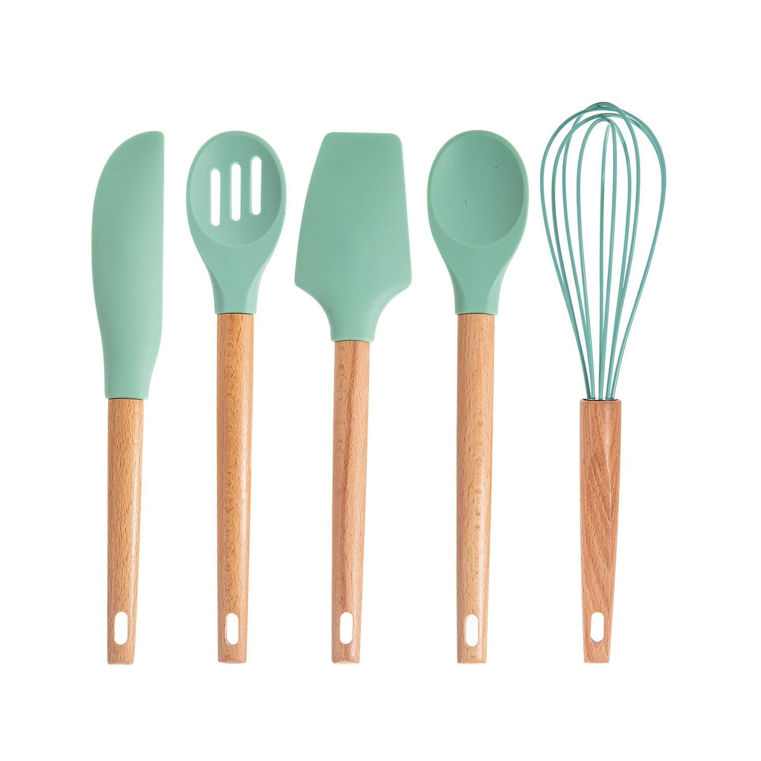 Silicone 6pc Baking Tool Set with Beech Wood Handle