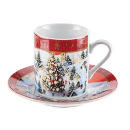 Christmas Design Coffee Cup & Saucer